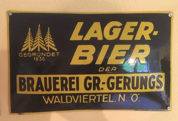 095 Brauerei Gr.Gerungs, Email, Abm. 29,5 cm x 39 cm, Impressum: Ferro-Email, Aetz & Emaillierwerk C. Robert Dold, Offenburg ca. 1920