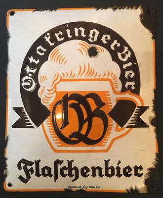123 Brauerei Ottakring, Email, Abm. 32 cm  x 26,5 cm, Impressum: Emailwerk Steg Wien XVI, ca. 1930