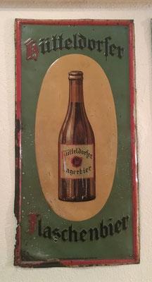 009 Brauerei Hütteldorf, Blech, Abm. 50cm x 24,5 cm, Impressum: Papier u. Blechdruck Industrie Wien XIX, ca. 1910