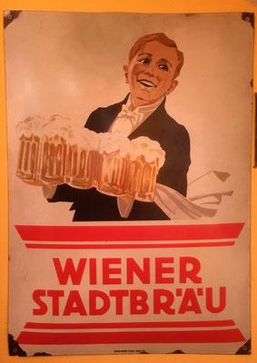 047 Wiener Stadtbräu, Email, Abm. 70 cm x 50 cm, Impressum: Emailwerk Steg, Wien XVI, ca. 1920