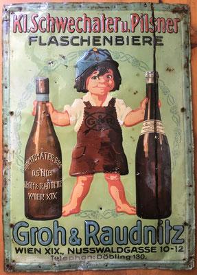 131  Groh & Raudnitz, Abfüller, Wien Döbling, Blech , Abm. 51,5 cm x 36,5 cm , kein Impressum