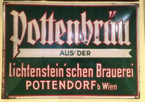 088 Brauerei Pottendorf b. Wien, Blech, Abm. 34 cm x  49 cm, Impressum: Papier u. Blechdruck Industrie Wien XIX, ca. 1910