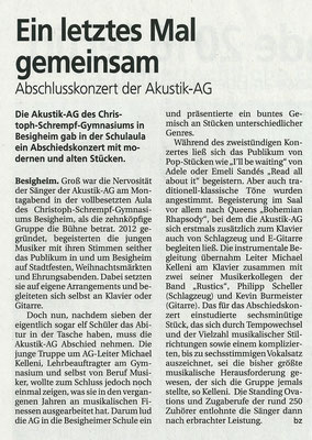 Bietigheimer Zeitung, 2016 - Abschlusskonzert CSGB