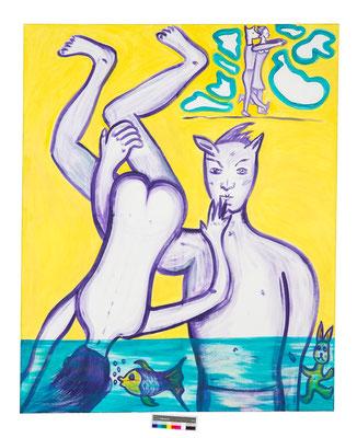 Eingetaucht, 2016, 185x150, Acryl auf Leinwand