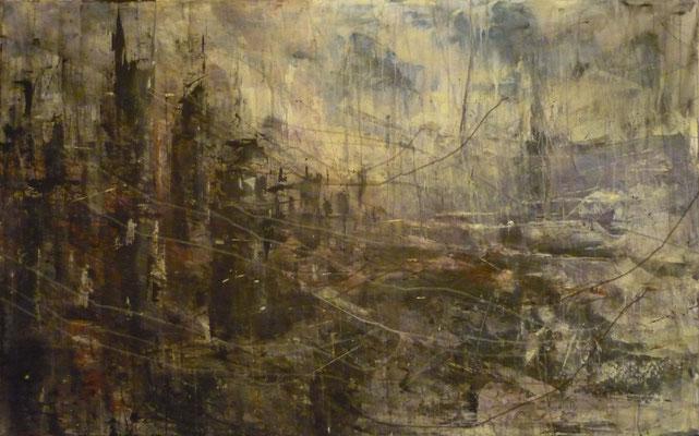 "Anja Kühnrich-Wilke, ""V"", 2009, Acryl auf Leinwand, 100 x 160 cm"
