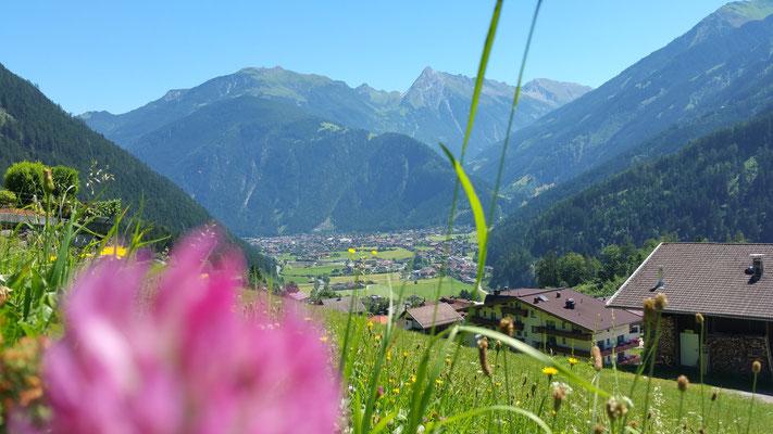 Blick von unserer Terrasse in Finkenberg nach Mayrhofen im Zillertal