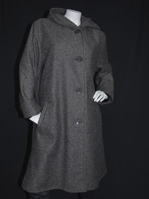 Mantel mit Kapuze, grau