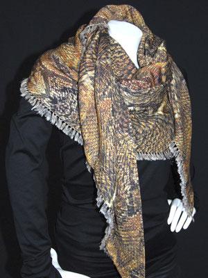 3-Ecks Schal, Schlangen braun