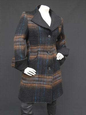 Mantel mit Reversstehkragen Karo schwarz-braun-türkis