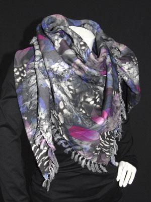 3-Ecks Schal, Blätter pink