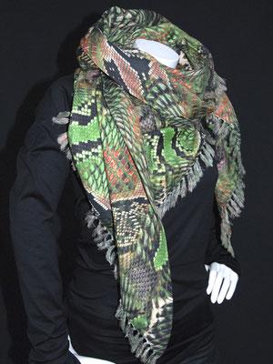 3-Ecks Schal, Schlangen grün