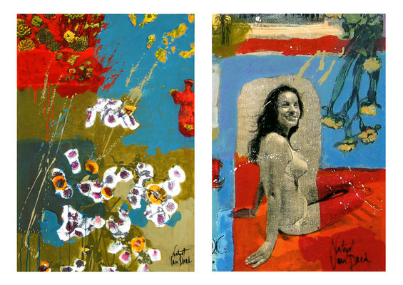 Cannes 60's (Acrylique et pigments sur toile sérigraphiée)