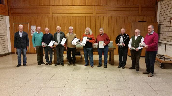 """Jubilare bei der Jahreshauptversammlung des MGV """"Westfalia"""" Gernsdorf"""