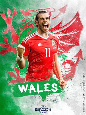 Pays de Galles UEFA Euro 2016 - Affiche