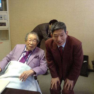 2015.2尊敬する日野原重明先生とのツーショット。