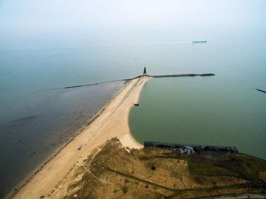 Luftaufnahme Kugelbake mit Bauhafen