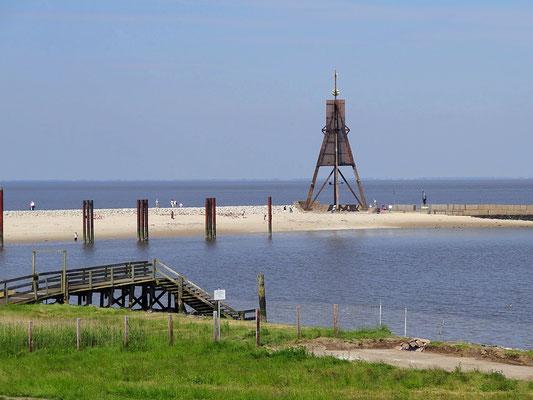 Die Kugelbake mit dem Bauhafen in Cuxhaven