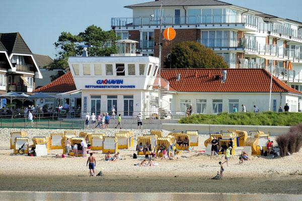 Der Strand in Duhnen vor der Rettungsstation