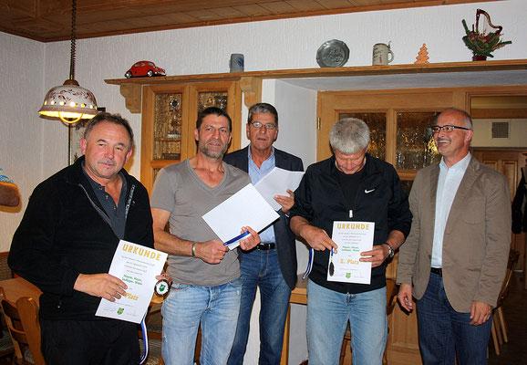 2. Platz im Mannschaftswettbewerb: Mayer, Maurer, Weber, Stallinger