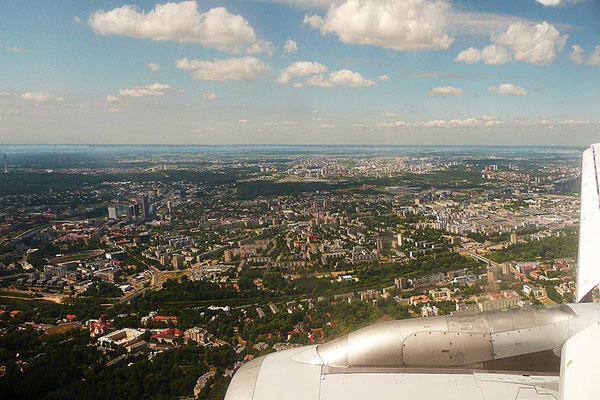 Im Anflug auf die litauische Hauptstadt Vilnius.