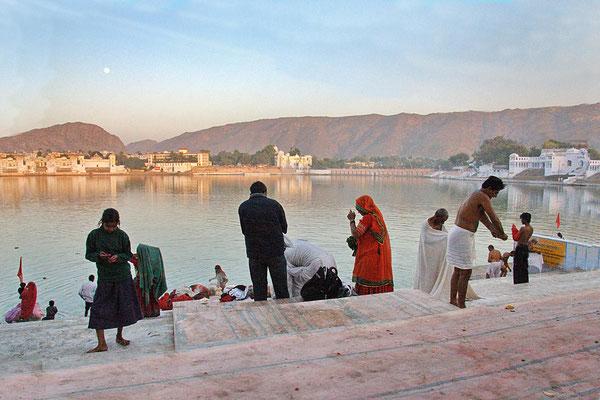 Badestelle am heiligen See von Pushkar.