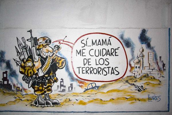 Der Amerikaner ist nach wie vor der Staatsfeind Nr.1 - Wandmalereien unterstreichen dies.