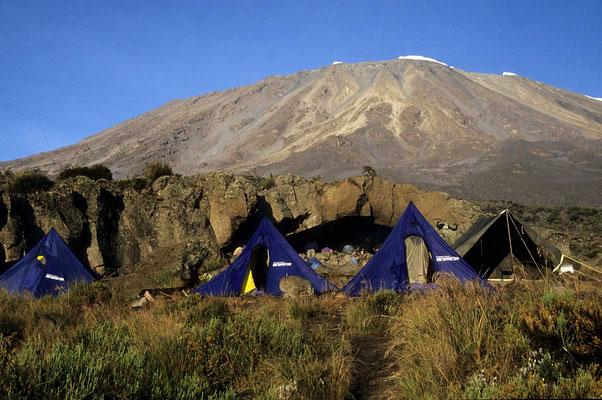 Auf dem Weg zum Kilmandscharo: Zeltlager.