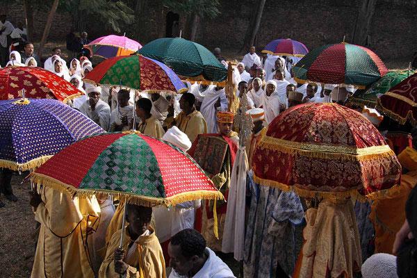 Prozession beim Dreikönigsfest in Gondar.