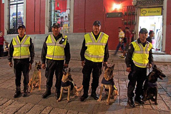 Polizei in den Straßen von Oaxaca.