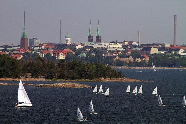Blick von der Fähre auf Helsinki, die Hauptstadt von Finnland.