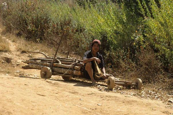 Mit diesem eigenartigen Gefährt wird Brennholz ins Tal geschafft.
