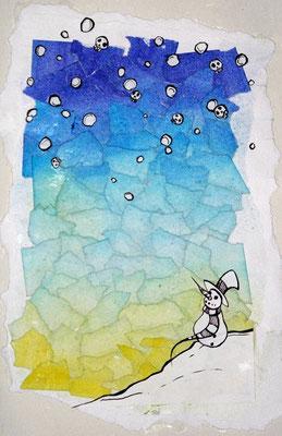 Snow. Inkt/papier/acryl.