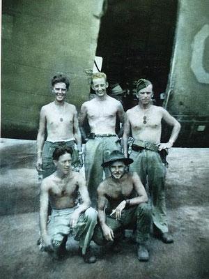 Toungoo, Burma, August 1945.  Top L-R:  F/O Brown, F/O Sandy Brown, F/O Ascah, Bottom L-R:   F/O Ward and LAC Peter Brennan