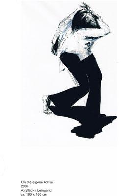 Um die eigene Achse, 2006,  Lack/Leinwand, 160 x 160 cm
