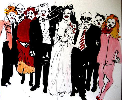 Hochzeit, 2013, Mischtechnik/ Leinwand, 110 x 110 cm