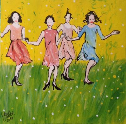 Tanz in den Mai, 2017, 90 x 90 cm, Lack /Leinwand
