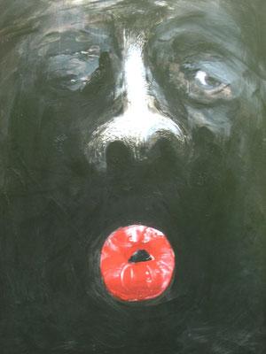 Mund, 2006, Lack/Leinwand, 100 x 80 cm