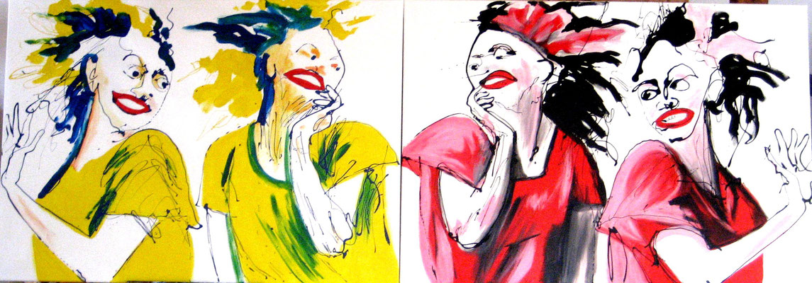 Lachende Frauen, 2013, Mischtechnik/Leinwand, 2 x 100 x 130 cm