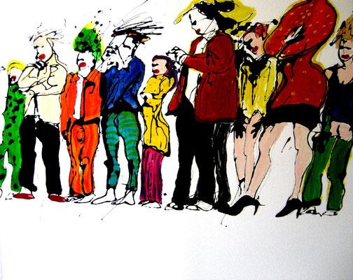 Vernissage, 2013, Mischtechnik/Leinwand, 110 x 110 cm