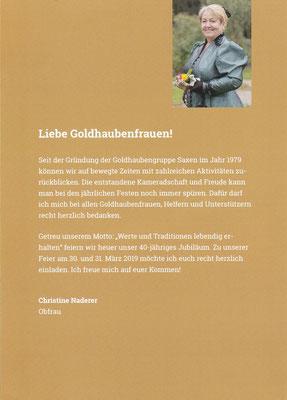 Flyer 40 Jahre Goldhaubengruppe Saxen Seite 2