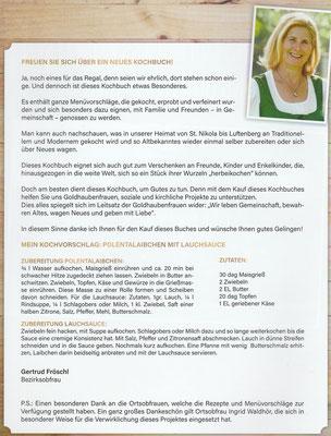 Vorwort der Obfrau Gertrud Fröschl zum Gold Hauben Kochbuch Bezirk Perg