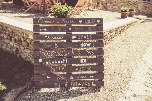 Décoration palettes en bois mariage vintage