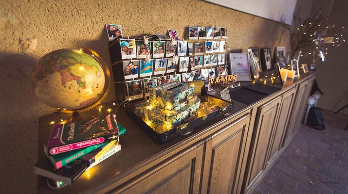 Livre d'or mariage décoration thème voyage