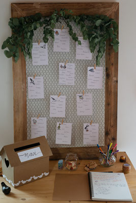 Plan de table végétal et livre d'or mariage