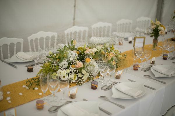 Décoration de table mariage coloré : thème couleur jaune