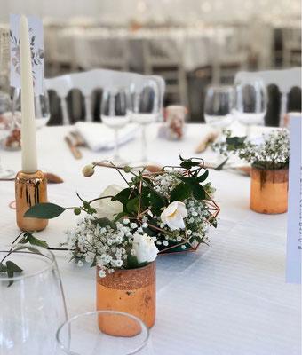 Décoration florale de table mariage blanc