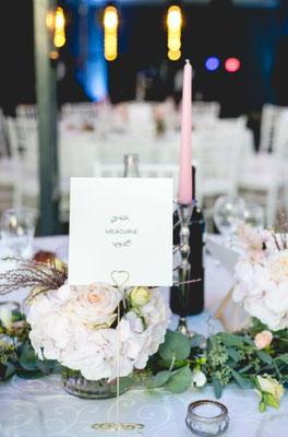Numéro de table mariage décoration pastelle