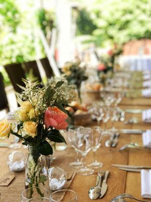 Décoration de table champêtre mariage guinguette