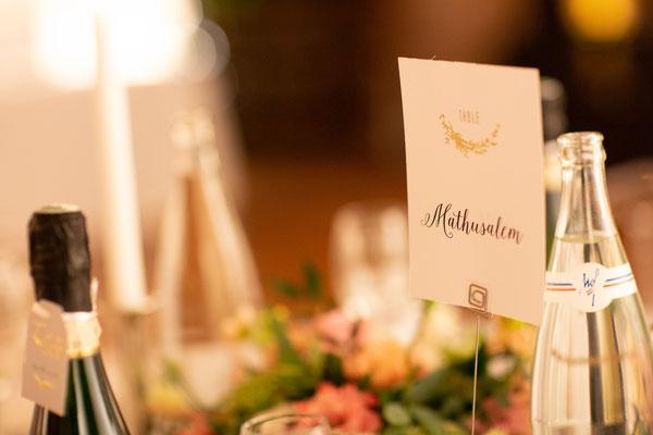 Numéro de table mariage en Champagne
