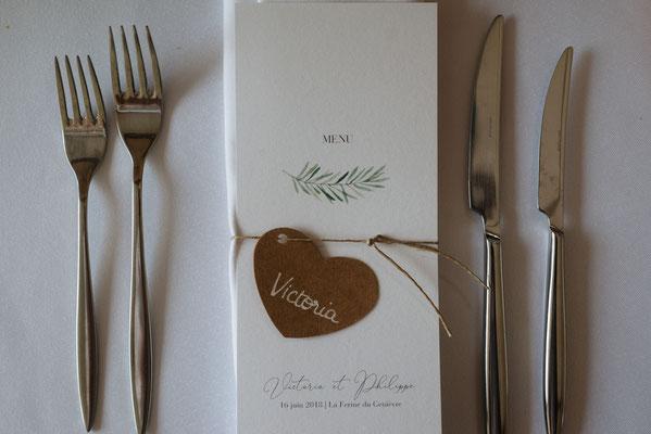Menu de mariage chic et végétal